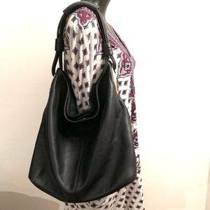 Oroton Kiera Black Pebbled Leather Hobo Bag Large b7904cf57a